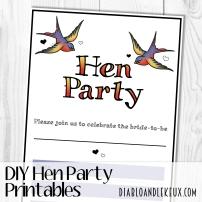 Hen Party Printables - Swallows Promo