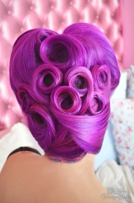 Le Keux Vintage Salon Look Book - Victory roll up do, Infintity Rolls, purple hair 1