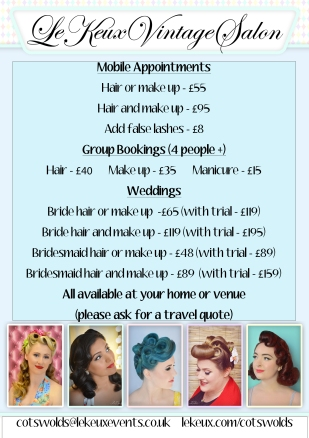 Le Keux Vintage Salon - Mobile Styling Pricelist - Cotswolds